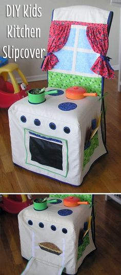 Isn't this the most adorable thing you've seen? A simple DIY slipcover you can make for any chair to instantly turn it into a kids kitchen, with everything included! Just darling: http://www.ehow.com/info_12340422_kids-kitchen-slipcover.html?utm_source=pinterest.com&utm_medium=referral&utm_content=inline&utm_campaign=fanpage