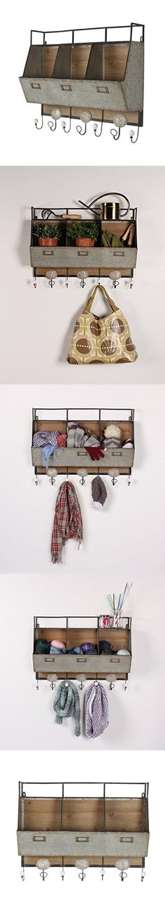 Kate and Laurel Arnica Wood and Metal Wall Storage Pockets Metal Walls, Wood And Metal, Pot Racks, Wall Storage, Pockets, Wall Mounted Shelves