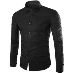 Single Breasted Shirt Collar Long Sleeve Shirt (28 BAM) ❤ liked on Polyvore featuring men's fashion, men's clothing, men's shirts, men's casual shirts, mens long sleeve shirts, mens longsleeve shirts, mens long sleeve casual shirts and mens collared shirts