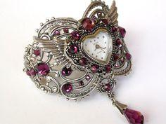 Swarovski Amethyst Silver Women Wrist Watch  Heart Shaped Watch Vintage style  Victorian Gothic Steampunk  Watch - Victorian Gothic Jewelry