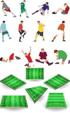 Footballer and football field vector