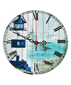 Look what I found on #zulily! Blue & White Seaside Lighthouse Wall Clock #zulilyfinds