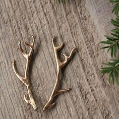 Antler Stag Hair Clips Bobby Pins in Golden by WoodlandBelle