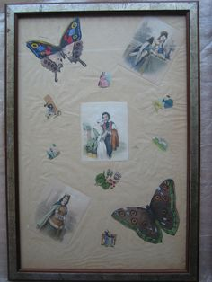 Antique vintage decoupage techniques in a frame (one of a pair)  These two are for sale. Please mail me for more information.