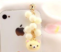 1pcs of Bling Bell Bear Charm Dust Plug iPhone Earphone Plug Dust Plug. $4.98, via Etsy.