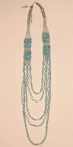Silver Multi Strand Necklace - Turquoise SilverAll Accessories and Jewelry are Final Sale