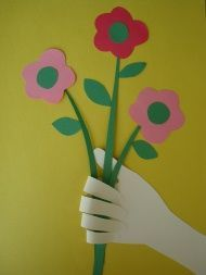 Handprint bouquet for Mother's Day card- preschool.