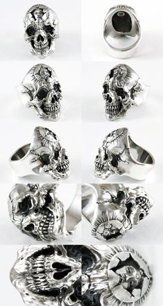 Rakuten: Scull ring Senju (/ silver accessories / シルバーアクセ / silver / silver 925/Silver925/ silver / 1,000 moves / Kannon-with-One-Thousand-Arms / ring / ring / men / unisex / scull / skeleton / skeleton / vegetables with dressing / deliverance / Senju)- Shopping Japanese products from Japan