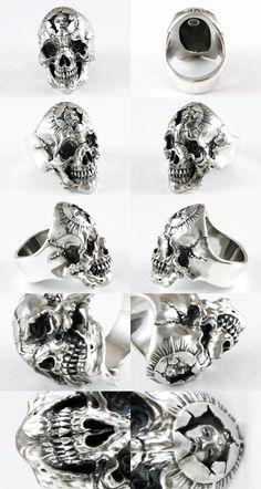 Rakuten: Scull ring Senju -Shopping Japanese products from Japan Skull Jewelry, Gothic Jewelry, Jewelry Rings, Silver Jewelry, Jewellery, Silver Earrings, Ring Ring, Ring Bracelet, Silver Skull Ring