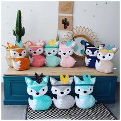 Diy Home Crafts, Felt Crafts, Fabric Crafts, Woodland Critters, Woodland Decor, Tribal Nursery, Felt Fox, Baby Bedding Sets, Diy Doll