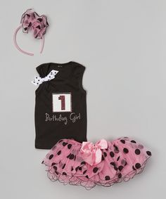 Another great find on #zulily! Beary Basics Black & Pink First Birthday Tutu Set - Infant & Toddler by Beary Basics #zulilyfinds