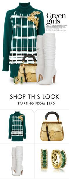 """""""Go green! 4676"""" by boxthoughts ❤ liked on Polyvore featuring Miu Miu, Burberry, Steve Madden, Green Girls and Effy Jewelry"""