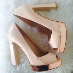 Zara Rose Gold Peep Toe Platforms Zara Rose Gold Peep Toe Platforms. Only worn once! Size 39, fit like an 8-8.5 Zara Shoes
