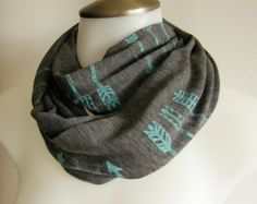 Turquoise Arrows Scarf,Infinity Scarf, Hunger Games,Hand Screen Printed,  Charcoal Grey & Turquoise Blue Soft Heather Rayon Knit Burnout