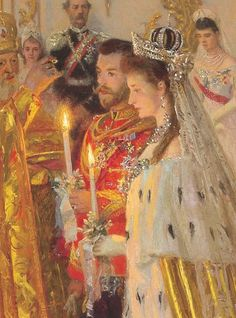 Tsar Nicholas II and his bride Alexandra Feodorovna on their wedding day, November by Laurits Tuxen. Anastasia Romanov, Tsar Nicolas, Russian Wedding, House Of Romanov, Alexandra Feodorovna, Russian Orthodox, Imperial Russia, Imperial Army, Russian Fashion