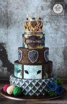 Game of Thrones inspired wedding cake by Tamara - http://cakesdecor.com/cakes/280910-game-of-thrones-inspired-wedding-cake