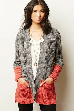 """Colorblock Cardi """"Shop for Colorblock Cardi by Anthropologie at ShopStyle."""", """"Colorblock Cardigan by adding another color of knitting add Crochet Clothes, Diy Clothes, Crochet Cardigan, Knit Crochet, Moda Crochet, Color Block Sweater, Knit Fashion, Pulls, Sweaters"""