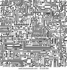 Computer circuit board pattern - vector seamless texture - stock vector
