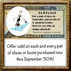 #footwear #savings #shoes #boots #latidaloot @latida_boutique #free $20 #latidaloot with every footwear purchase.  Offer valid now thru September 30th. 👠👞👢loot is spendable October 1-31 💵💰💵💰