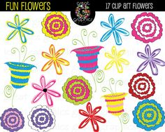 Funky Flower Clip Art | Funky Flower Friendship Frames | Doodling ...