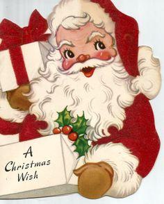 Vintage retro Christmas card Santa Claus digital by BigGDesigns