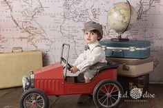 World traveler themed photoshoot. Boys photoshoot ideas. www.kdelise.com