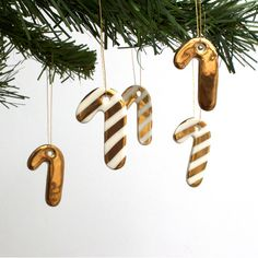 Mini Candy Cane Decoration Set 5 real gold lustre by joheckett