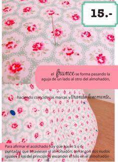 dobleufa: Almohadones acolchados (tutorial) Patches, Pillows, Crafts, Handmade, Diy, Blog, Origami, Scrap, Ideas