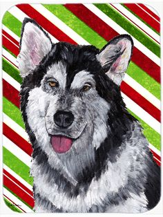 Alaskan Malamute Candy Cane Holiday Christmas Mouse Pad - Hot Pad or Trivet SC9490MP #artwork #artworks