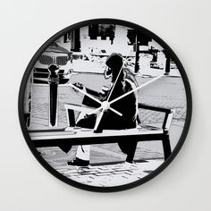 Busking for His Ticket Home  - Guitar Player Wall Clock