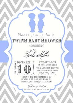 PRINTABLE Gray and Blue Chevron Boy Silhouettes Baby Shower Twins Baby Shower Invitation - colors can be changed