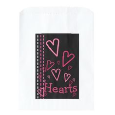 Valentin's Day Party Favors Valentine Hearts on Black Party Favor Bag