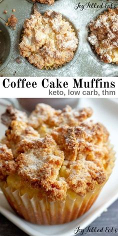 Keto Coffee Cake Muffins are a delicious breakfast, dessert, or afternoon snack. My low carb coffee cake muffins are great with your coffee any time of day! Keto Desserts, Keto Snacks, Keto Diet Foods, Keto Sweet Snacks, Carb Free Snacks, Best Low Carb Snacks, High Protein Desserts, Best Low Carb Bread, Sugar Free Snacks