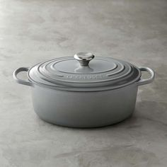 Le Creuset Signature Cast-Iron Oval Dutch Oven in MIneral Grey 6 3/4qt #williamssonoma