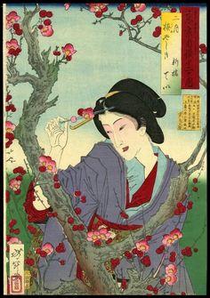 February: Tei of Shinbashi by Plum Tree at Umeyashiki   Artist: Yoshitoshi, Taiso, 1839-1892  Series: Pride of Tokyos Twelve Months  Date: 1878