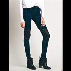 """Free People Liberty Garden Skinny Jeans Leggings Free People X Liberty Garden blue """"Locke Pieced Skinny"""" soft & super stretching Jeans Leggings  dark blue super stretchy & soft form fitting jean leggings with brown vegan leather knee patches adorned with silver studs Super soft and distressed skinnies in a rugged washed with vegan leather piecing.   Five pocket design with zip fly and button closure.  New Without Tags  *  Size:  Medium  *95% Cotton *5% Spandex  *Machine Wash Cold   measures…"""