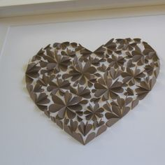 How fantastic is this! It is simple hearts folded in half! Cardboard Crafts, Paper Crafts, Project Ideas, Craft Ideas, Projects, Heart Diy, Caligraphy, Framed Wall Art, Newspaper