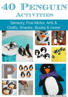 40 penguin activities for kids including sensory, fine motor, arts and crafts, snacks, books and mor Animal Activities, Motor Activities, Sensory Activities, Winter Activities, Activities For Kids, Sensory Art, Preschool Winter, Preschool Class, Preschool Science