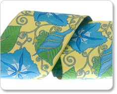 Blue and Yellow Morning Glories Ribbon - Laura Foster Nicholson