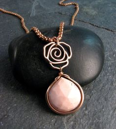 Pink Opal Long Pendant Necklace in Jewelers by JessicaCoxJewelry