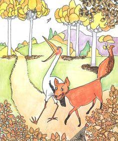 La zorra y la cigüeña: (fábula de La Fontaine) adaptación de Mª Eulalia Valeri; dibujos de Pilarín Bayés. Publicado por La Galera, 1973.