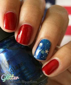 Or, skip the polish details entirely and go for glitter. | 36 Amazing DIY-Able Manicures For The 4th Of July