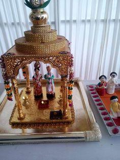 Wedding Gift Baskets, Wedding Gift Wrapping, Wedding Cards, Wedding Gifts, Desi Wedding Decor, Wedding Mandap, Wedding Decorations, Ganesh Chaturthi Decoration, Fruit Crafts