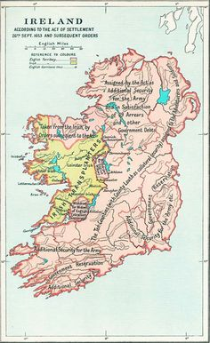 Map of Ireland as it was after the Settlement Act of 1653 - Northern Ireland and Southern Ireland. Printable map for Northern and Southern Ireland, Free, Online Map of Ireland. Ireland Map, Dublin Ireland, Vintage Maps, Antique Maps, Southern Ireland, Historical Maps, Old Maps, Family History, Decoy Carving