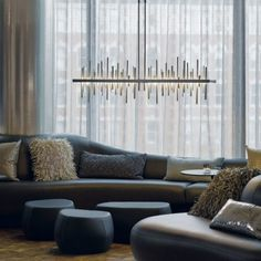 Hubbardton Forge Cityscape light will add a dramatic effect to any room. Part of the LED series.this will brighten up any room. Decor, Interior, Linear Chandelier, Kitchen Island Lighting, Lighting Design, Hubbardton Forge, Contemporary Decor, Interior Deluxe, Home Decor