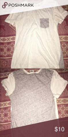 White and grey short sleeve shirt White and grey pocketed shirt from Victorias Secret Pink PINK Victoria's Secret Tops Tees - Short Sleeve