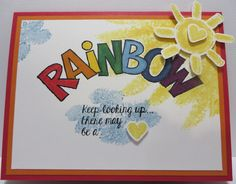 Rainbow card by Lynn Gauthier using Stampin' Up Over the Rainbow stamp set and SU Aqua Painter Brush.