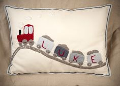 Personalised Train big crochet cushion | Malooshi MISI Handmade Shop Personalised Cushions, Handmade Cushions, Crochet Cushions, Applique Cushions, Personalized Baby Gifts, Soft Furnishings, Little Boys Rooms, Cushion Pillow, Bed Pillows
