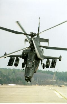 """The Russian Kamov """"Black Shark"""" attack helicopter. Attack Helicopter, Military Helicopter, Military Jets, Military Weapons, Military Aircraft, Fighter Aircraft, Fighter Jets, Naval, Military Equipment"""