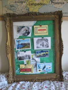 Postcard Display with an old map as the back ground love this idea! Postcard Display, Framed Postcards, Postcard Art, Vintage Postcards, Travel Crafts, Old Frames, Diy Wall Art, Photo Displays, Decoration